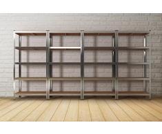 Heavy Duty in metallo-Scaffalatura a 5 ripiani per Garage/capanno/Scaffalatura a griglia, colore: argento
