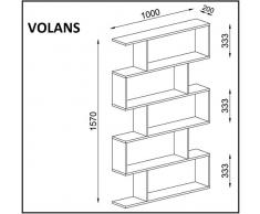 VOLANS Libreria - Bianco - Scaffale per libri - Scaffale per ufficio / soggiorno dal design moderno
