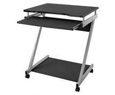 Songmics Scrivania per Computer Scrivania Ufficio Porta PC Tavolo per Computer con Ripiani Tastiera Scorrevole Nero LCD811B