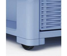 Cassettiera con ruote e 4 cassetti effetto vimini modello Elegance della Stefanplast colore Blu avio