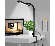 SKYLEO Lampada da tavolo a LED con clip, girevole a 360°, flessibile a collo di cigno con telecomando, multifunzione regolabile da architetto, ideale per apprendimento, disegno, ufficio