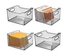 mDesign Set da 4 Scatola di immagazzinaggio con maniglie integrate - Contenitore per la conservazione di utensili da cucina, da bagno o da ufficio - Scatola per la scrivania in plastica - grigio fumo