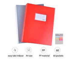ipow 2 PZ (2 colori) Portalistino a fogli fissi 60 Buste Porta listino Raccoglitore formato A4 con 90 Foglietti adesivi per appunti Cartella Portadocumenti per Ufficio, Casa, Suola (Rosso/Grigio)