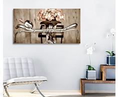 Quadri L&C ITALIA - Bici vintage 3 - Quadro moderno 90x45 cm shabby chic stampa tela quadri moderni fiori margherite rustico provenzale style romantic country arredamento casa salotto ufficio home decor