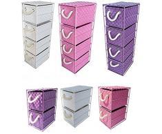 Arpan - Mobiletto con 4 o 2 cassetti, per casa/camera da letto/ufficio, colori: rosa, viola, bianco, metallo, bianco, 4-cassetti, 18 x 25 x 65 cm