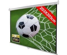Jago® Schermo per Proiettore 203x203cm - 113 Pollici, Vinile, Formato 1:1, 4:3, 16:9 - Schermo di Proiezione, Telo da Videoproiettore