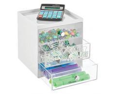 mDesign Mini cassettiera da appoggio — Cassettiera da Ufficio per cancelleria — Pratico portaminuterie da Tenere sulla scrivania — Bianco/Trasparente
