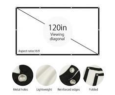 Schermo Portatile per Proiettore 120 Pollici 16:9 Telo da Proiezione con 160° Angolo 3D HD1080 Lavabile Pieghevole per Esterno Ufficio Casa