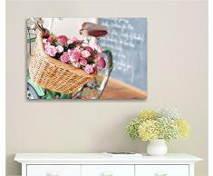 Bici vintage retrò 2 - Quadro 70x50 cm stampa su tela quadri moderni shabby chic provenzale fiori style romantic rose country arredamento casa salotto ufficio home decor