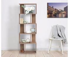 Mobili Rebecca® Libreria Scaffale 5 Ripiani Legno Marrone Arredo Contemporaneo Salone Ufficio (Cod. RE4789)