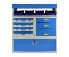 Metallo Van Rack System / Blu Steel serratura Van Scaffalature Scaffale / 7 scomparti e 7 cassetti