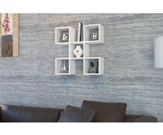 CAPRI Mensola da muro - Bianco - Mensola Parete - Mensola Libreria - Scaffale pensile per studio / soggiorno in un design moderno