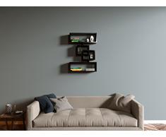 FORCE Mensola moderna da muro - Mensola Parete - Mensola Libreria - Scaffale pensile in legno per studio / soggiorno (Nero)