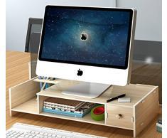 Dreamaccess, supporto in legno per monitor TV, computer portatile, monitor del PC, con cassetto, porta cellulare, mensola per libri, portapenne, organizzazione per lo studio multicolore Wood Medium