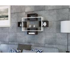 MAYORKA Mensola da muro - Bianco / Wengè - Mensola Parete - Mensola Libreria - Scaffale pensile per studio / soggiorno in un design moderno