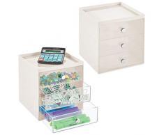 mDesign Mini cassettiera da appoggio — Cassettiera da Ufficio per cancelleria — Pratico portaminuterie da Tenere sulla scrivania — Set da 2 — Crema/Trasparente
