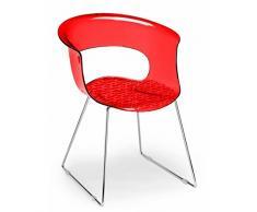 Scab Design Poltrona a slitta Miss B antishock in policarbonato Made in Italy - Set da 2 - Rosso trasparente