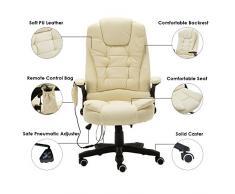 Deer Hunte, sedia da ufficio in pelle con 6 punti i massaggio, reclinabile, regolabile, girevole Beige