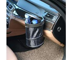 Bidone della spazzatura portatile pieghevole per auto Bidone della spazzatura portatile pieghevole Mini Contenitore di spazzatura pop-up pieghevole con coperchio della spazzatura per interni auto / ufficio / casa(Nero-Cestino pieghevole)