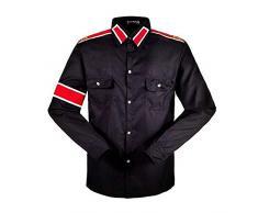 Shirt Uomo Camicia Bambino MJ Cosplay Professionale Michael Jackson Costume Camicia Stile CTE per ventilatori MJ Bianco Nero Colori Rosso Shirt (XS, Nero)