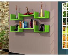 LIFE Mensola da muro - Verde - Mensola Parete - Mensola Libreria - Scaffale pensile per studio / soggiorno in Design moderno