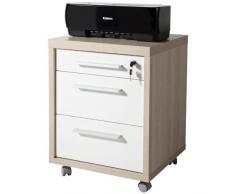 Cassettiera legno ruote ufficio chiave frassino laccato bianco CT7073 L47h62p45