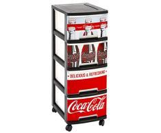 Curver 218729 - Cassettiera con 4 cassetti in formato A4 da 10 litri, con ruote, motivo Coca-Cola, in polipropilene, 26,4 x 35,1 x 67,5 cm, colore: rosso