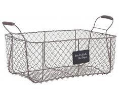 Crate Grigio Filo Basket archiviazione metallo vintage francese Agriturismo di stile di stoccaggio di verdure