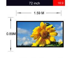 Excelvan Portatile e Pieghevole 72 Pollici 16: 9 Tessuto Proiettore Bianco Opaco Schermo di Proiezione Materiale
