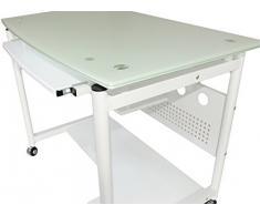 YELLOO Tavolo SCRIVANIA Computer BIANCA Mod. WHEEL WHITE CON RUOTE Studio Ufficio Camera Salotto