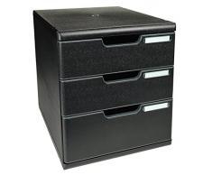 Exacompta 325414D - Cassettiera da ufficio Modulo, formato A4, 3 cassetti, nero