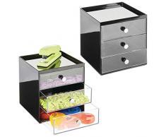 mDesign Mini cassettiera da appoggio — Cassettiera da Ufficio per cancelleria — Pratico portaminuterie da Tenere sulla scrivania — Set da 2 — Nero/Trasparente