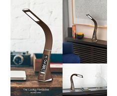 WILIT® U2 5W lampada da tavolo LED, lampada da scrivania dimmerabile con sveglia, calendario, display della temperatura, lampade da lavoro collo d'oca, caffè