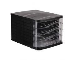 Cassettiera Portadocumenti a 4 Cassetti da scrivania e ufficio, Formato 29x38x23.8 cm, Nero-Trasparente