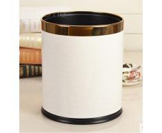 pattumiera tavolo spazzatura pelle luxe ufficio bidone bianco classico