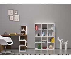 BASIC Libreria - Bianco - Scaffale per libri - Divisorio- Scaffale per ufficio / soggiorno dal design moderno