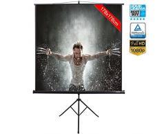 Schermo per Proiezione Videoproiettore 99 con Treppiedi Cavalletto Pieghevole Portatile Salvaspazio Telo Proiettore 178 x 178 cm FULL HD TV 3D