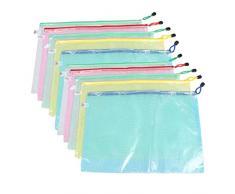 MMY 10 buste in PVC con chiusura a portafoglio, bustina in PCV, con cerniera, utile come portafoglio/portadocumenti in ufficio/negozio/scuola, formato A3 Mix