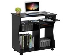 Yaheetech Scrivania Computer Pc con Libreria per Cameretta Studio Ufficio Potra Pc con Ripiano Tastiera Scorrevole 4 Ruote Nera