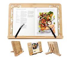 Porta libri - leggio da tavolo Pieghevole (33.5 x 24cm) con 5 Altezze regolabile - leggio in bambù per Libri, Annotazioni Musica,Ricetta tavololettura, guardare video,iPad