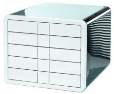 HAN 1551-33 iBox - Cassettiera da scrivania, 5 cassetti chiusi, per formati fino a C4, colore: Bianco/Nero
