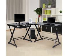 Songmics LCD402B - Scrivania per Computer ad Angolo, con Ripiano scorrevole per la tastiera, Nero, 150 x 138 x 75 cm