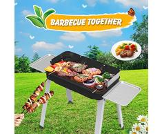 Barbecue Carbonella Griglia a Carbonella Tavolo Utensile BBQ Grill Carbone Pieghevole per 4 - 7 Persone Cottura alla Brace Griglia per Picnic, Riunione di Famiglia in Balcone e Giardino, Campeggio ecc