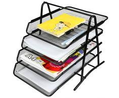 YOTINO 4 Cassettiera Organizzatore per vassoi per lettere, Vassoio per documenti in metallo Organizzazione per ufficio Vassoio per scrivania per documenti A4 (nero)