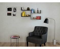 FRESH Mensola da muro - Mensola Parete - Mensola Libreria - Scaffale pensile per studio / soggiorno in Design moderno(Nero)
