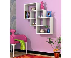GENTILE Mensola moderna da muro – Bianco - Mensola Parete - Mensola Libreria - Scaffale pensile in legno per studio / soggiorno