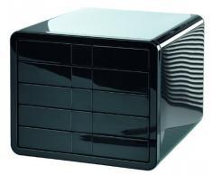 HAN 1551-13 iBox - Cassettiera da scrivania, 5 cassetti chiusi, per formati fino a C4, colore: Nero lucido