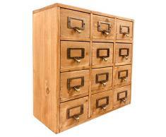 Geko 35 x 15 x 34 cm Trinket Mini Desk Organizer gingillo archiviazione cassetti, in legno 12 Mini cassettiera con maniglie in metallo