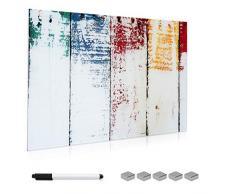 Navaris Lavagna Magnetica in Vetro scrivibile - 90x60cm 5X magneti 1x Pennarello Set Fissaggio - Bacheca Memoboard Decorativa - Design Legno Dipinto