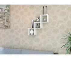 DAISY Mensola da muro – Bianco - Mensola Parete - Mensola Libreria - Scaffale pensile per studio / soggiorno in un design moderno